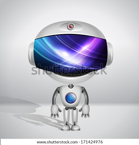 Vector robot. Screen indicator with abstract background - stock vector