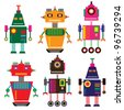 vector robot set - stock vector