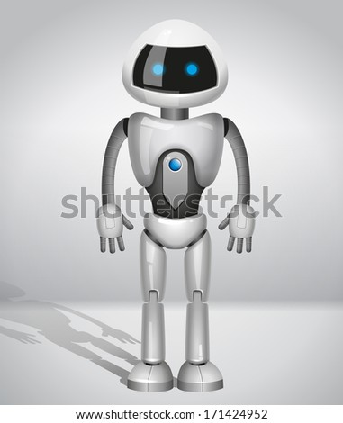 vector robot with screen indicator - stock vector