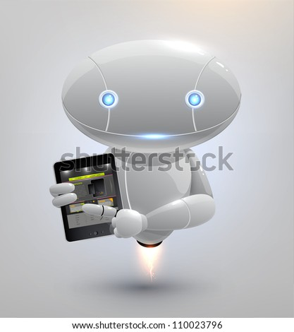 Vector robot with tablet pc - stock vector