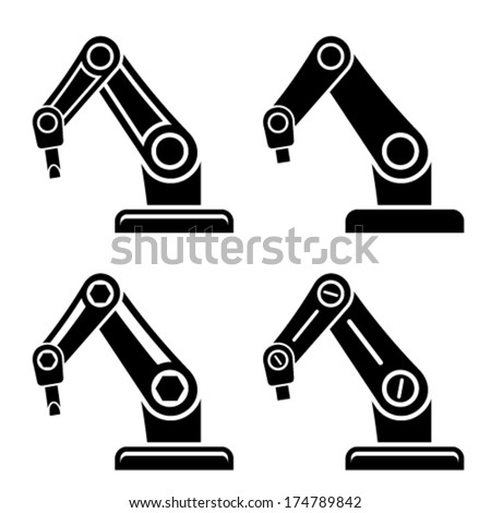 vector robotic arm black symbol - stock vector