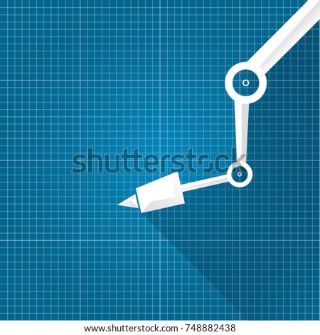Vector robotic arm symbol on blueprint stock vector 748882438 vector robotic arm symbol on blueprint paper background robot hand technology background design template malvernweather Image collections