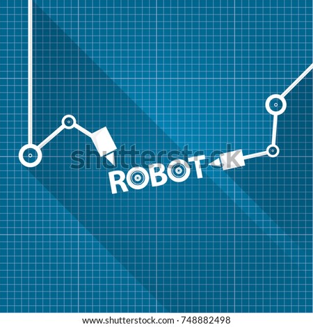 Vector robotic arm symbol on blueprint stock vector hd royalty free vector robotic arm symbol on blueprint paper background robot hand technology background design template malvernweather Image collections