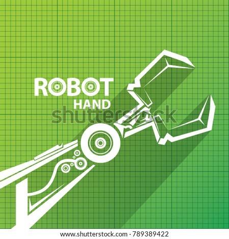 Vector robotic arm symbol on green stock vector 789389422 shutterstock vector robotic arm symbol on green blueprint paper background robot hand technology background design malvernweather Image collections