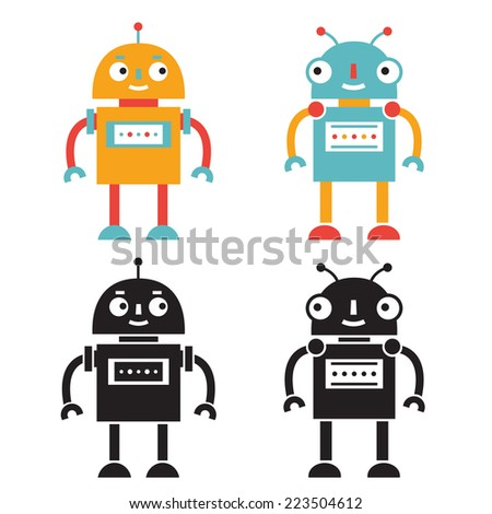 Vector robots set, color and black versions