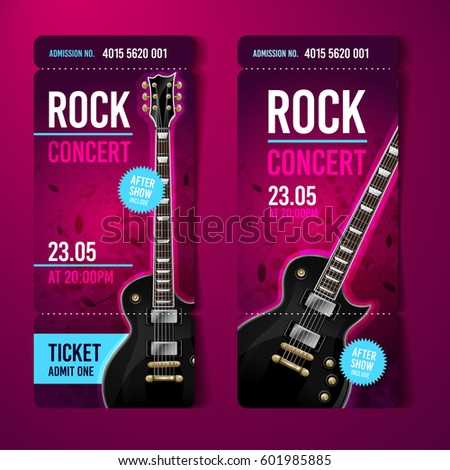 Vector Rock Festival Ticket Design Template With Guitar  Concert Ticket Layout