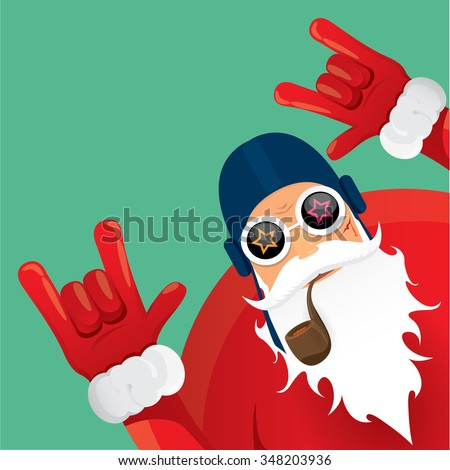 vector rock n roll gesture santa claus with smoking pipe. Christmas hipster poster for party or greeting card. vector bad santa xmas poster background - stock vector