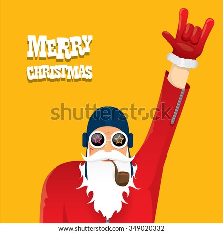 vector rock n roll santa claus with smoking pipe. Christmas hipster poster for party or greeting card. vector bad santa xmas poster background - stock vector