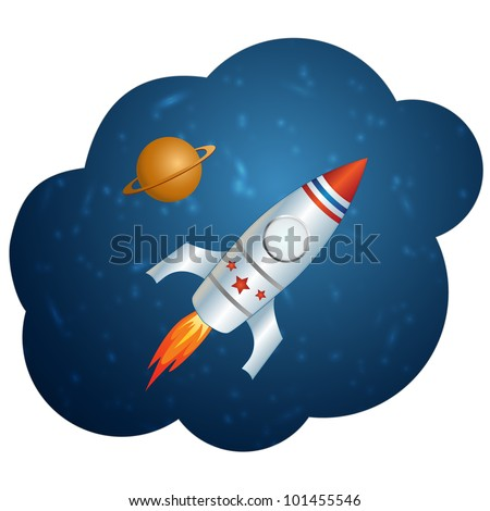 Vector rocket in space. This vector image is fully editable. - stock vector