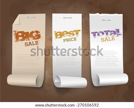 Vector roll papers with dark background. Sale concept. - stock vector