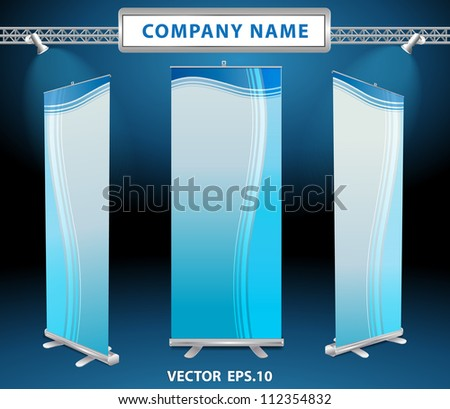 Vector roll up banner display - stock vector