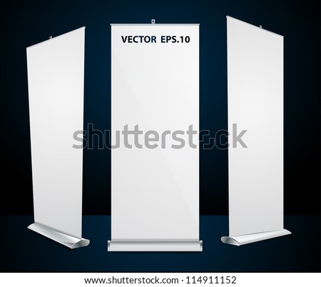 Vector roll up banner exhibition display - stock vector
