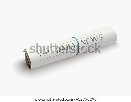 Vector rolled newspaper with the headline. - stock vector