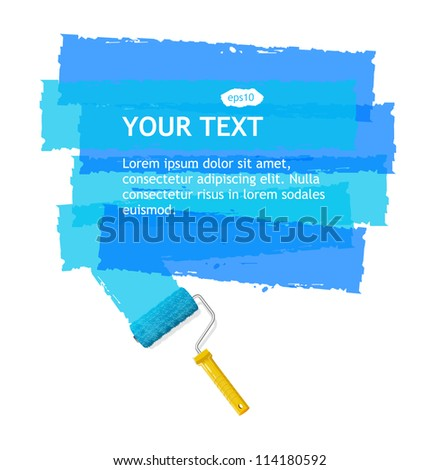 Vector roller brush for text - stock vector