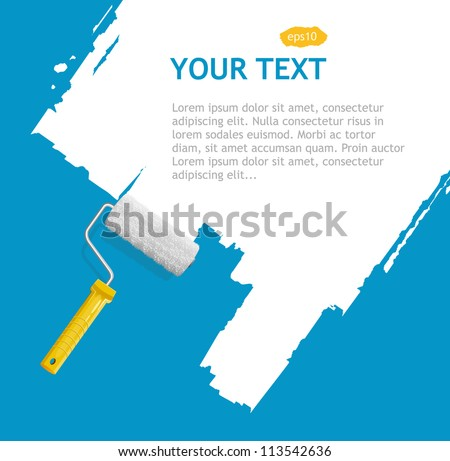 Vector roller brush with white paint for text - stock vector