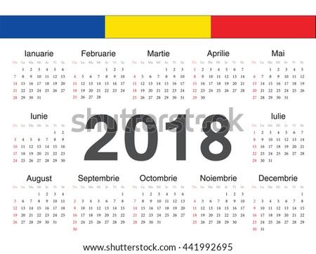 Vector Romanian Circle Calendar 2018 Week Stock Vector 441992695 ...