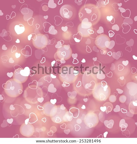 Vector romantic background with hearts and bokeh lights. - stock vector