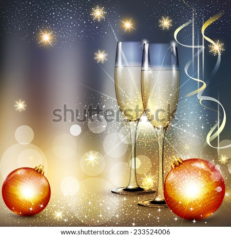 vector romantic christmas background with two glasses and christmas balls - stock vector