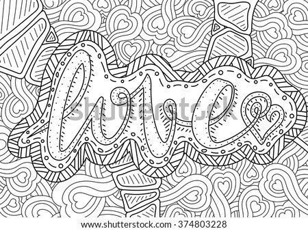 Vector romantic pattern text love hearts stock vector 374803228 vector romantic pattern with text love and hearts on background coloring book page altavistaventures Image collections