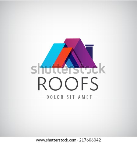 vector roofs, house icon, logo isolated - stock vector