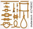 Vector Rope - design illustrations set- knot, ladder, noose, loop, reef knot, eight knot, string and broken hawser.-to see more similar images, please visit my Gallery - stock photo