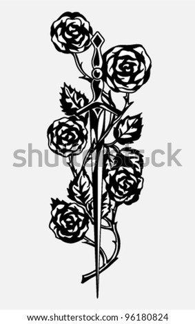Vector - Rose and the Sword (knightly romantic paraphernalia) - stock vector