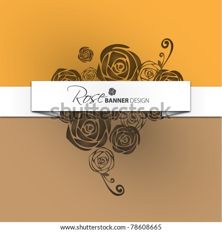 Vector rose banner design - stock vector
