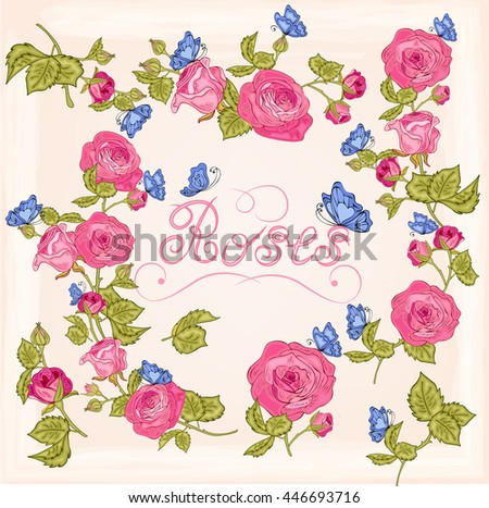 Vector rose branch with butterflies for design,banners, invitation of the wedding, birthday,Valentine's Day, Mother's Day, gift cards, congratulation.Flowers in the Garden.Decorative floral  elements. - stock vector
