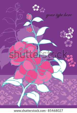 Vector rose flower with pattern
