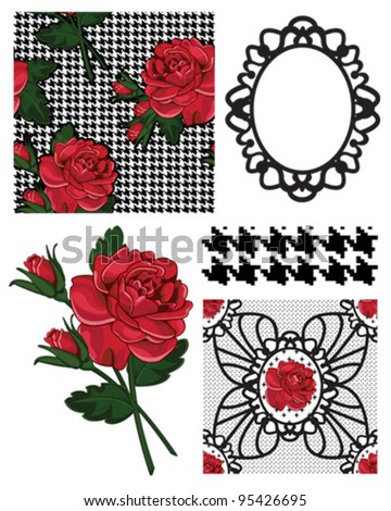 Vector Rose Patterns and Icons.  Use to create great backgrounds or craft projects. - stock vector