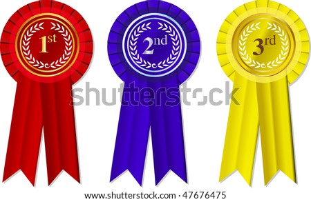 vector Rosettes and Ribbons 1st - 2nd -3rd place - stock vector