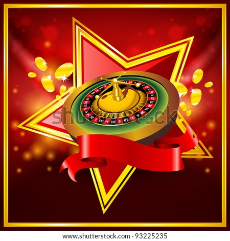 vector roulette wheel on red background with ribbon - stock vector