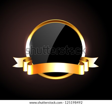 Vector round black glossy label / banner with shiny golden ribbon - stock vector
