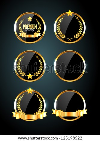 Vector round black glossy labels / banners / frames with shiny golden ribbons, laurel wreaths and golden stars - stock vector