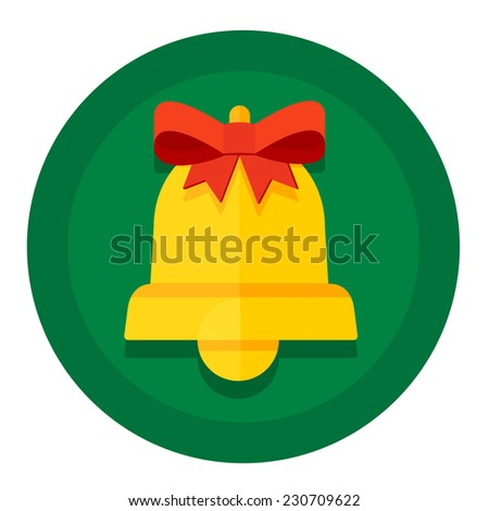 Vector round button with Christmas or New Year holidays kolokolchikom gold and red bow - stock vector