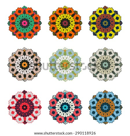 Vector round colorful mandala flower vintage set, circle background, lacy arabesque texture designs. Orient traditional ornament. Oriental motif symbol isolated on white - stock vector