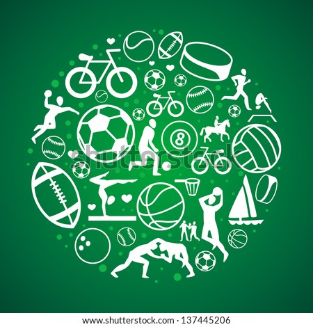 Vector round concept with sport icons and signs - healthy life-style - stock vector