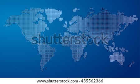 Vector Round Dotted World Map On A Blue Background - stock vector