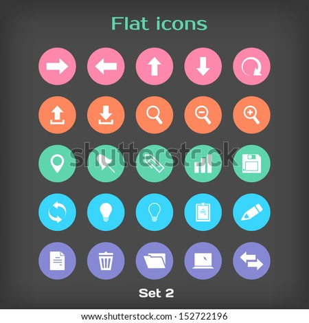 Vector Round Flat Icon Set ?2 in Color Variation