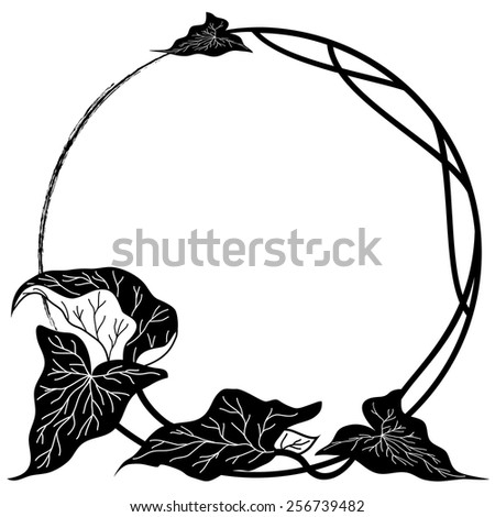 vector round floral frame in black and white colors - stock vector