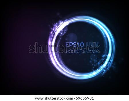 Vector round frame design against dark background - stock vector