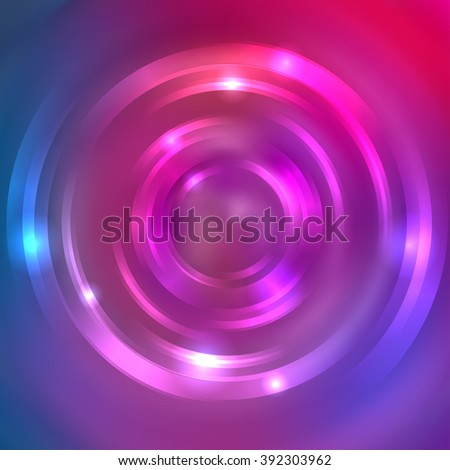 Vector round frame. Shining circle banner. Glowing spiral. Vector illustration. Pink, purple, blue colors.  - stock vector