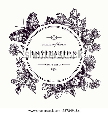 Vector round frame with summer flowers and a butterfly in vintage style. Black and white illustration. Pansies, daisies, violet. - stock vector