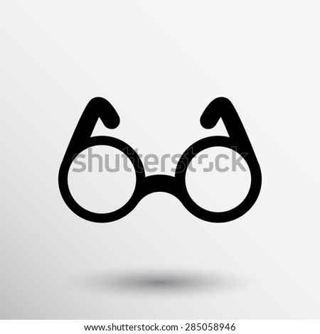 Vector Round Glasses Icon Symbol vision isolated specs decoration. - stock vector