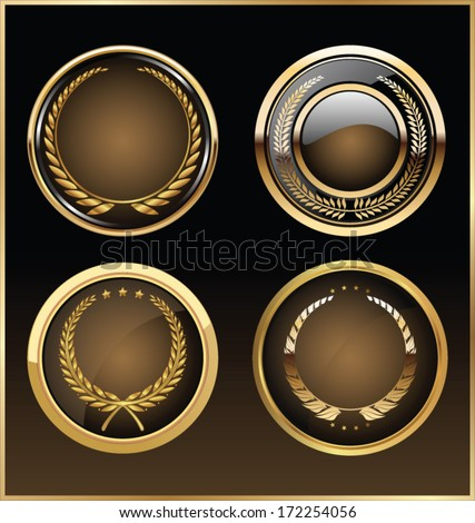 Vector round golden glossy labels - stock vector