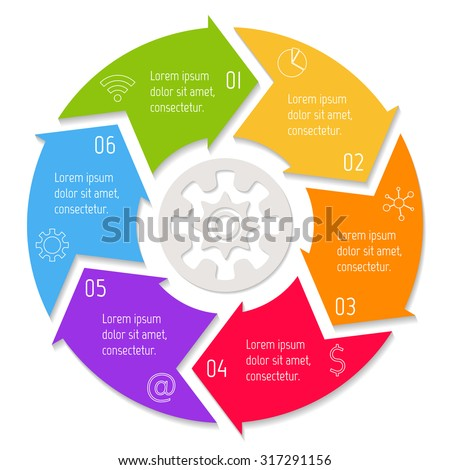 Vector round infographic diagram. Circular connected chart with 6 options. Paper progress steps for tutorial with arrows. Business concept sequence banner. EPS10 workflow layout. - stock vector