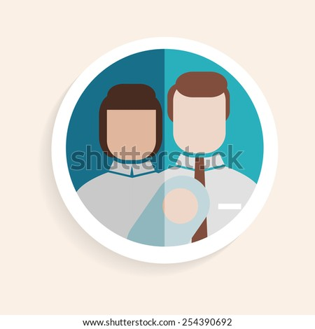 Vector round paper icon successful husband, wife, child, happy family in flat design style for business, research, teaching school or college, work, market research, search right decisions - stock vector