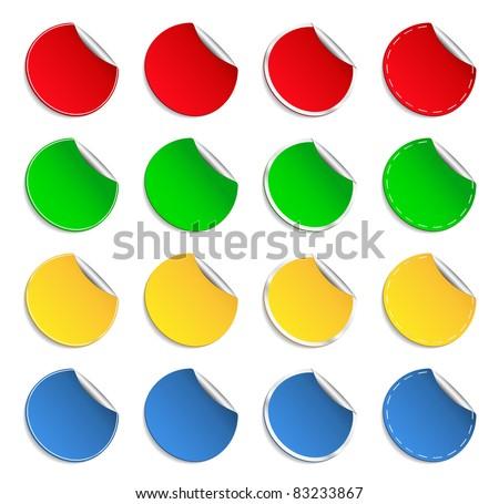 Vector Round Stickers - stock vector