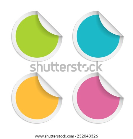 Vector round stickers with curled edge isolated on white background - stock vector