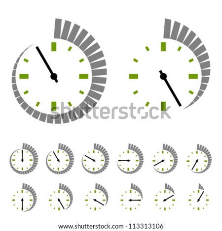 Vector round timer symbols - stock vector